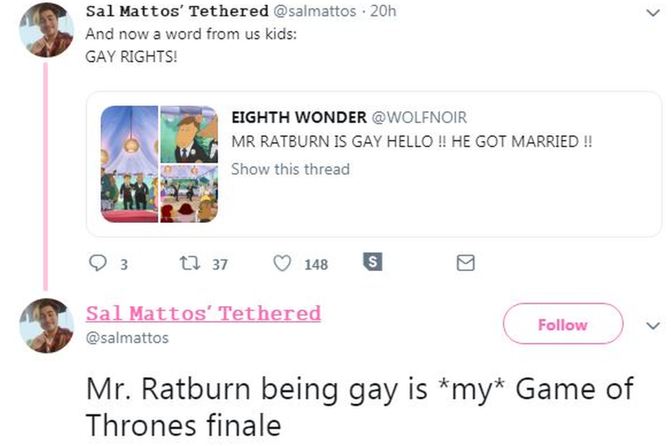 Twitter user Salmattos says Mr Ratburn being gay is my Game of Thrones finale