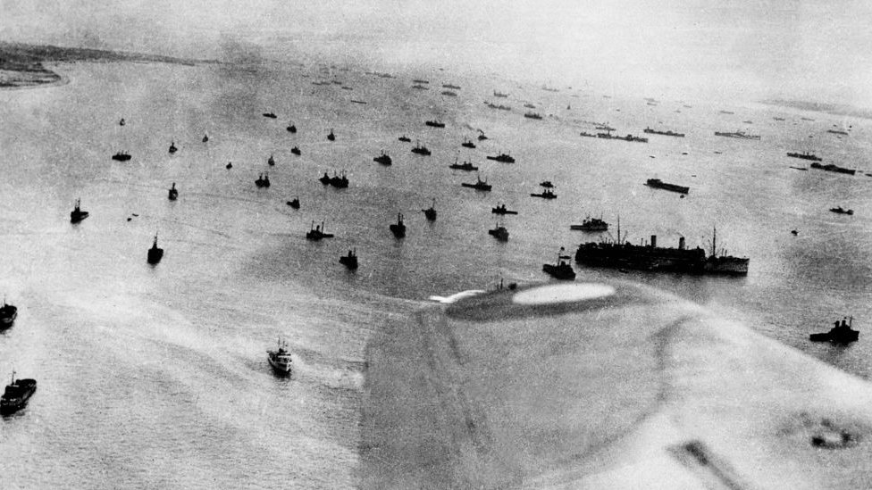 Aerial view taken 06 June 1944 of the Allied Naval forces engaged in the Overlord operation of landing while Allied forces storm the Normandy beaches on D-Day. D-Da