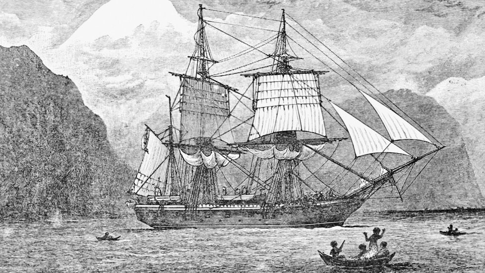 HMS Beagle in the Straits of Magellan - Reproduction of frontispiece from Darwin, Charles (1890)