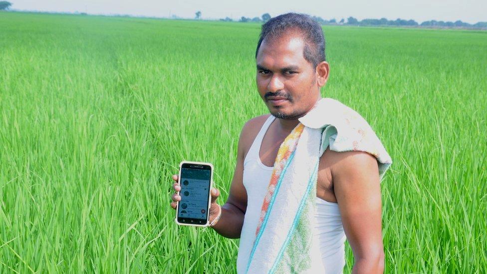 Rice farmer Voruganti Surendra in paddy field