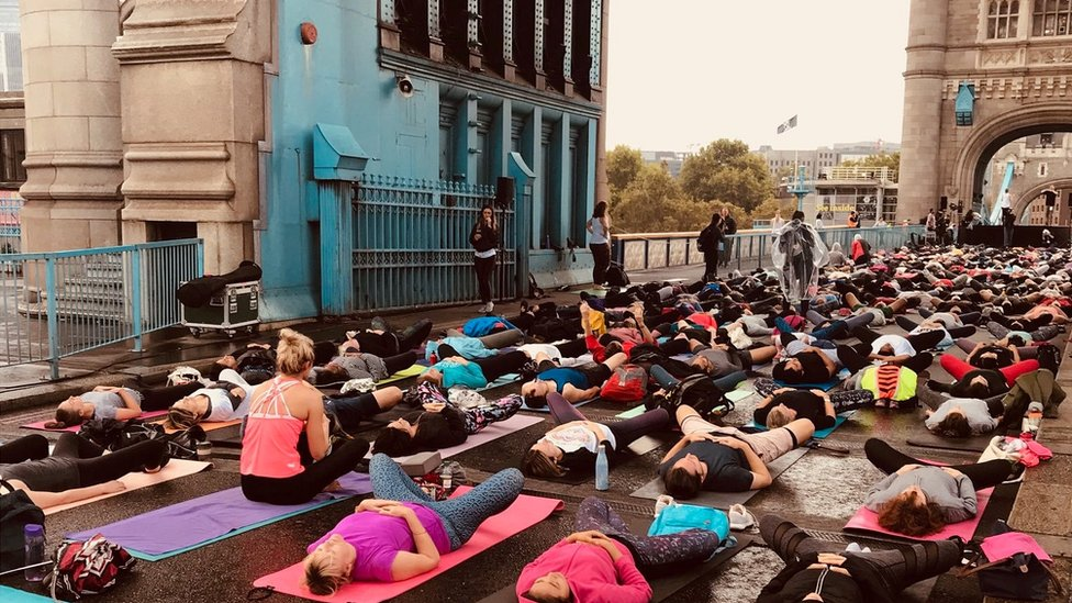 Yoga session on Tower Bridge