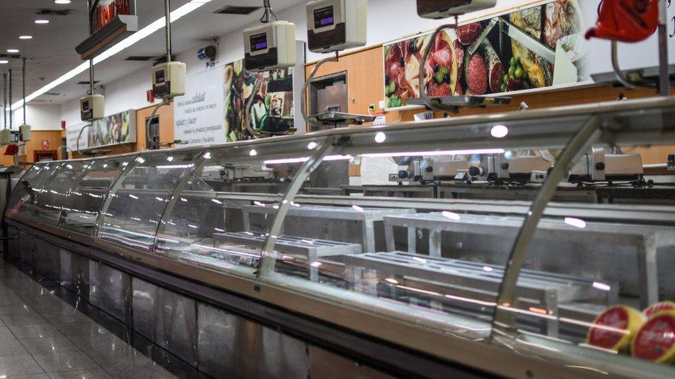 Supermercado vacío en Venezuela.