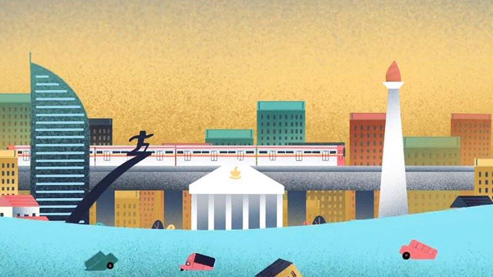 Illustration of a sinking Jakarta
