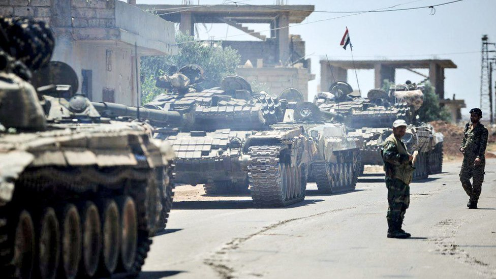 Syrian government tanks in the town of Western Ghariyah (30 June 2018)