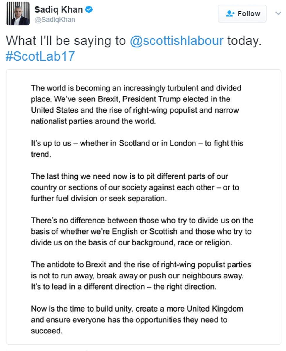 Sadiq Khan speech tweet