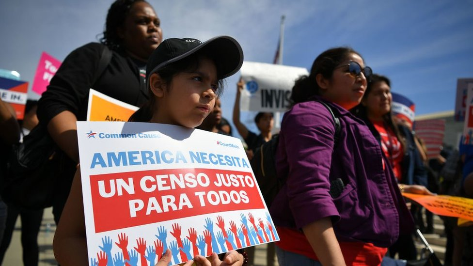 Demonstrators rally at the US Supreme Court in Washington, DC, in April to protest a proposal to add a citizenship question in the 2020 census
