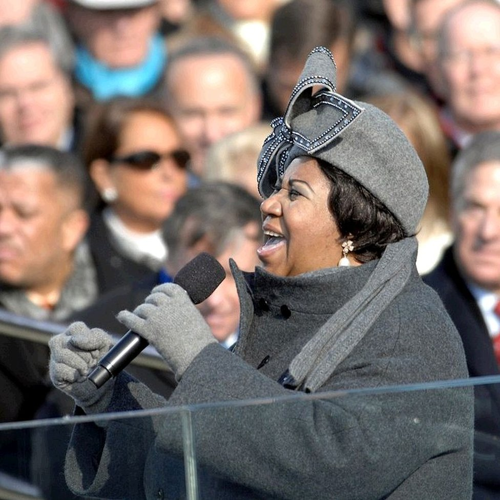Aretha Franklin sings at the inauguration of Barack Obama in January 2009