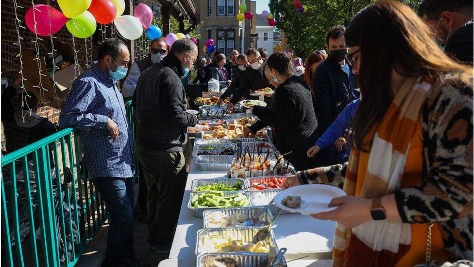 مسلمون في نيو جيرسي خلال الاحتفال بعيد الفطر