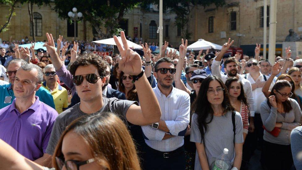Jedan od protesta na Malti na kojem se tražilo rasvetljavanje ubistva novinarke