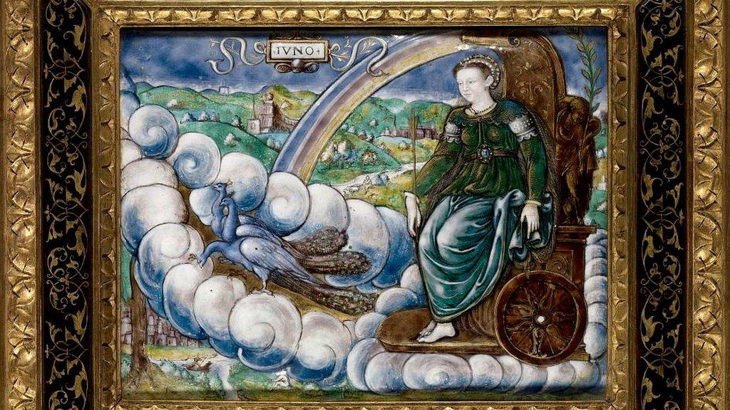 Alegoría de Catalina de Medici como Juno, del artista francés Leonard Limosin (circa 1505 - 1575,1577).