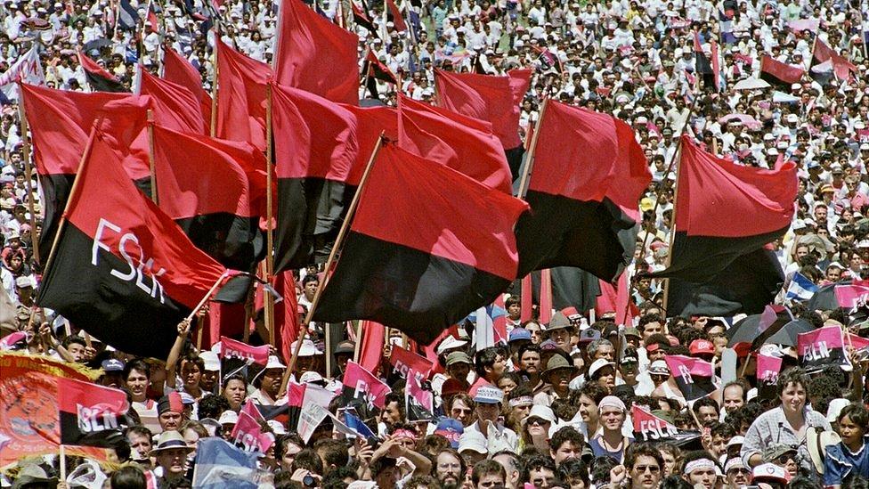 Celebración del décimo aniversario de la revolución en Nicaragua.