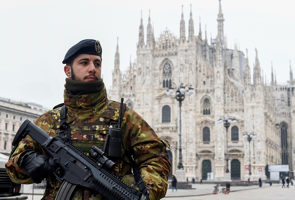 A military officer is seen on Duomo square, Milan, after the whole of Italy is on lockdown on 10th March 2020
