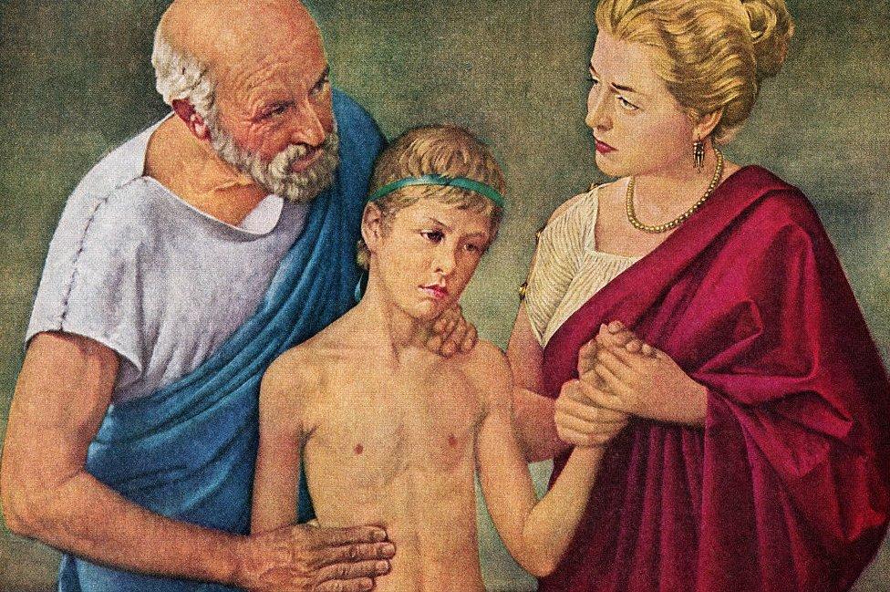 Hipócrates atendiendo a un niño