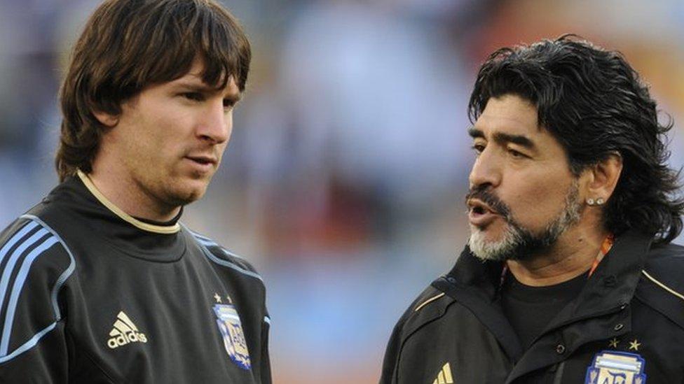 ليونيل ميسي ودييغو مارادونا