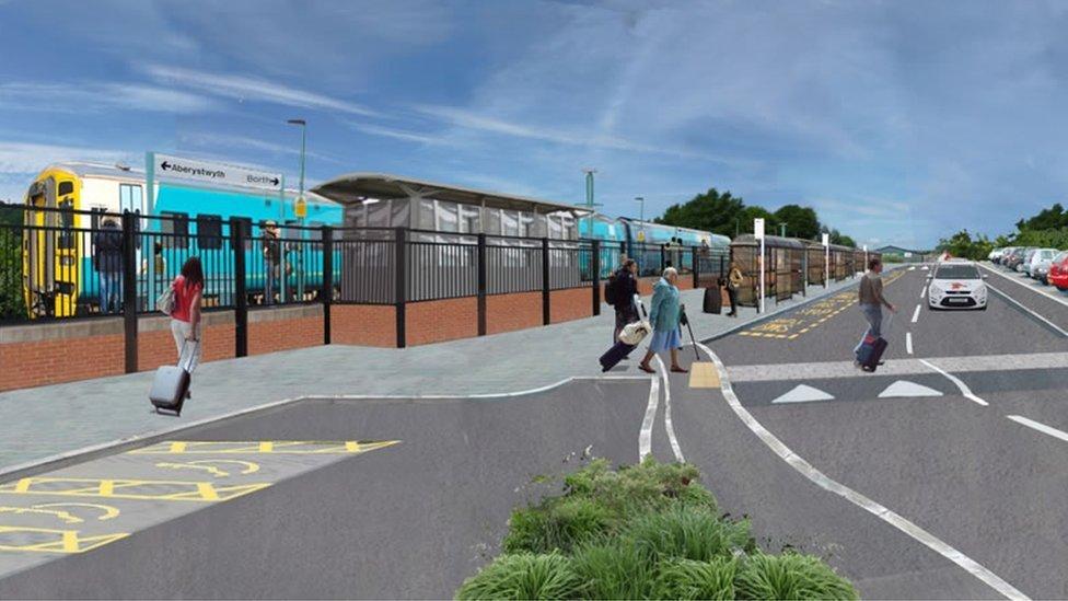 Artist's impression of a new railway station at Bow Street, Aberystwyth