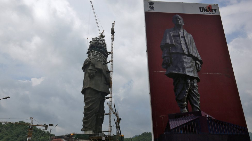 "A view of the construction site of the ""Statue of Unity"" portraying Sardar Vallabhbhai Patel, one of the founding fathers of India, is seen during a media tour in Kavadia in the western state of Gujarat, India on 25 August 2018."