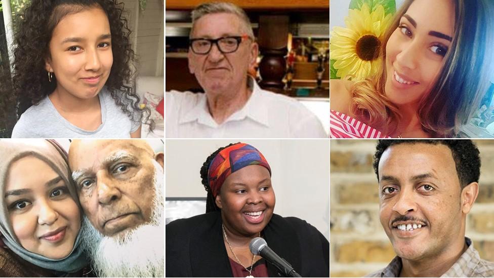 Clockwise from top left Jessica Urbano Ramirez, Tony Disson, Mariem Elgwahry, Mohamednur 'Mo' Tuccu, Khadija Saye, Husna Begum and Kamru Miah