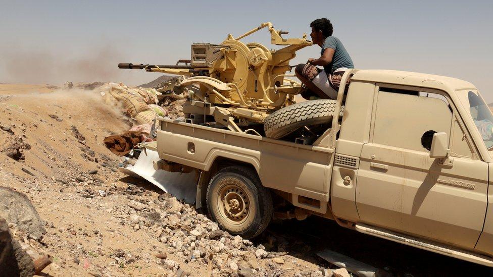 Petempur propemerintah Yaman melawan pemberontak Houthi Marib (28 March 2021)