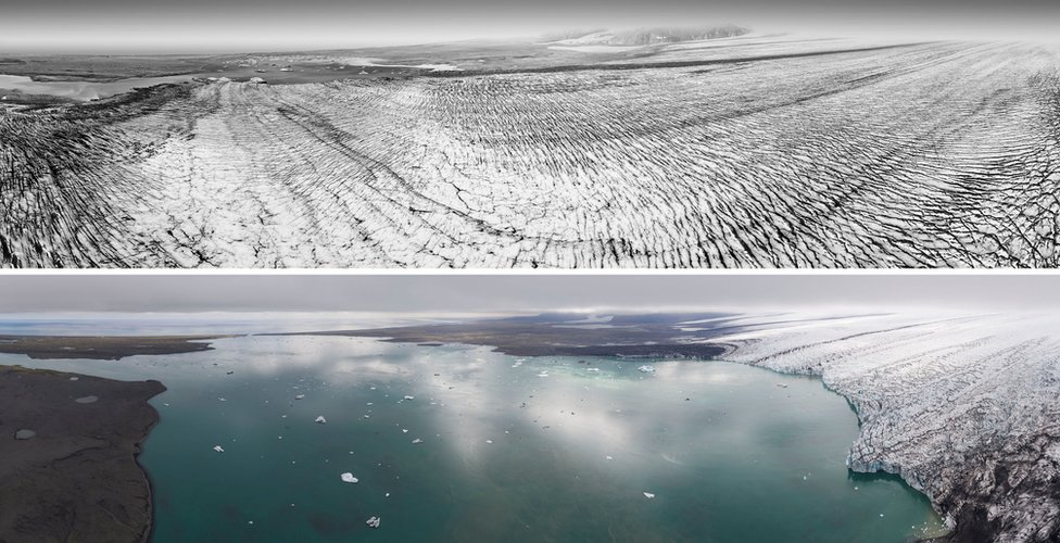 Breiðamerkurjökull 1989 and 2019