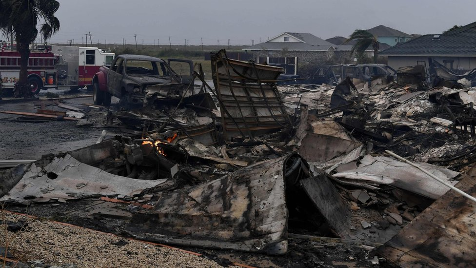 A burnt out house that caught fire after Hurricane Harvey hit Corpus Christi, Texas is seen on August 26, 2017