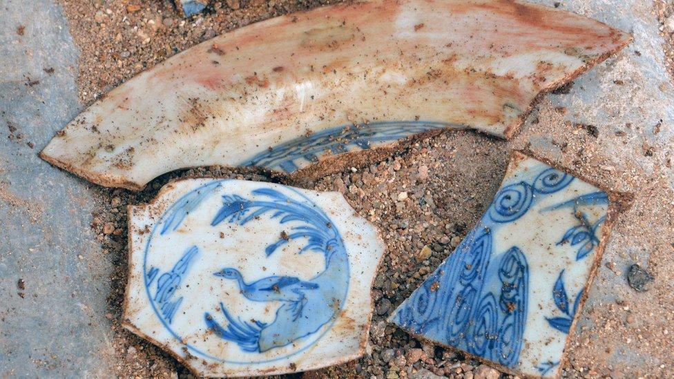 Porcelana de la dinastía Ming encontrada durante las playas de Baja Calfiornia.