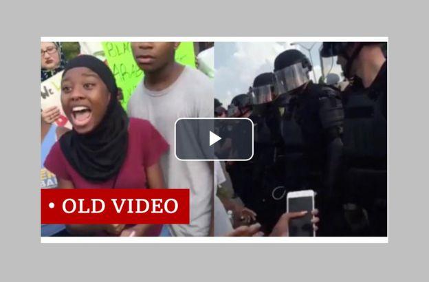لقطةأخذت من فيديو للاحتجاجات في باتون روج في 2016 ضد عنف الشرطة