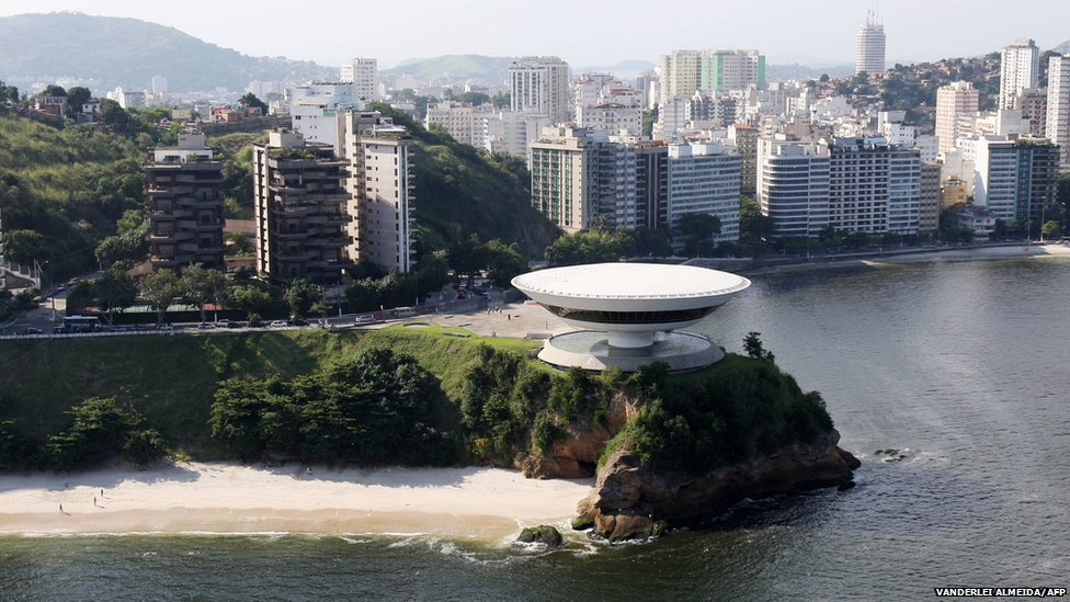 Aerial view taken on 30 April, 2009 of the Museum of Contemporary Art designed by Niemeyer