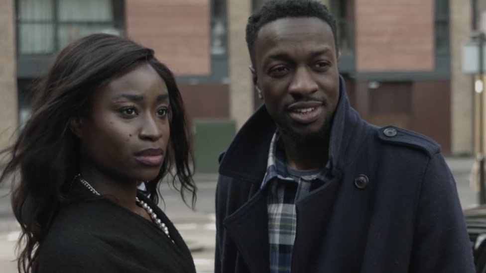 Adele Oni who plays Jade and Zephryn Taitte who plays Rory in the film No Shade