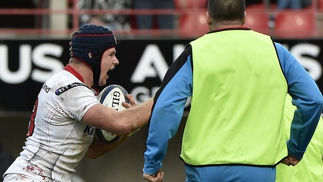 Ulster centre Luke Marshall celebrates his second-half try which put the game out of reach for Toulouse