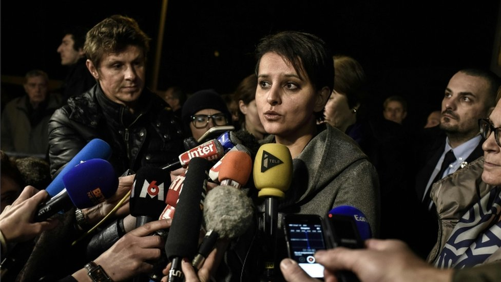 French Education Minister Najat Vallaud-Belkacem addresses the media at the Saint-Exupery High School in Lyon on 13 January 2016.