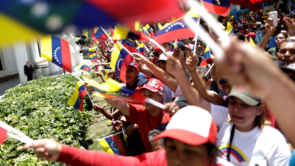 Supporters of Venezuela's President Nicolas Maduro's government demonstrate before the first session of the constituent assembly in Caracas, Venezuela August 4, 2017