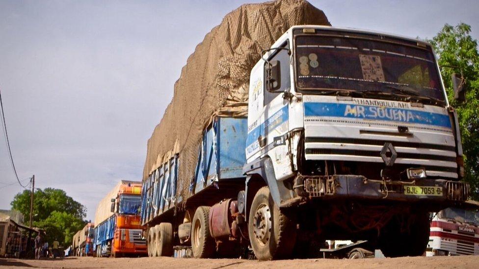 Trucks at Senegal-Gambia border