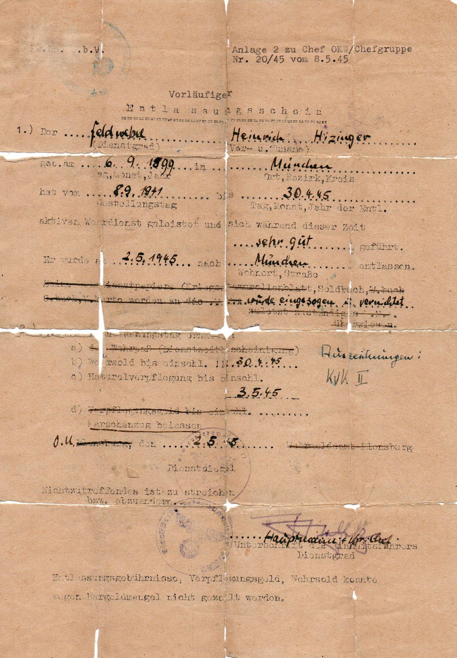 Himlerova dokumenta, sa lažnim imenom i pečatom