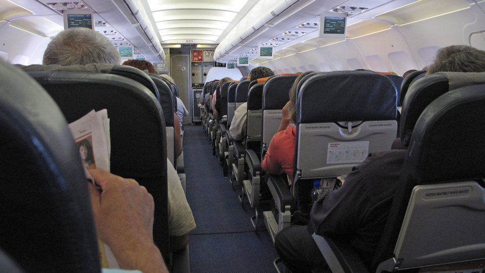 Passengers seated on an aeroplane