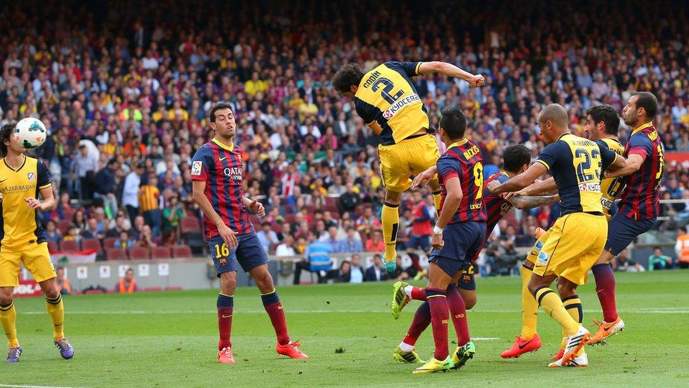 Este gol de Diego Godín dejó al Barcelona sin el título de liga en 2014.