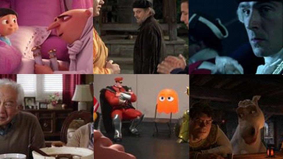 Various movie stills have replaced the hacked account profile photographs