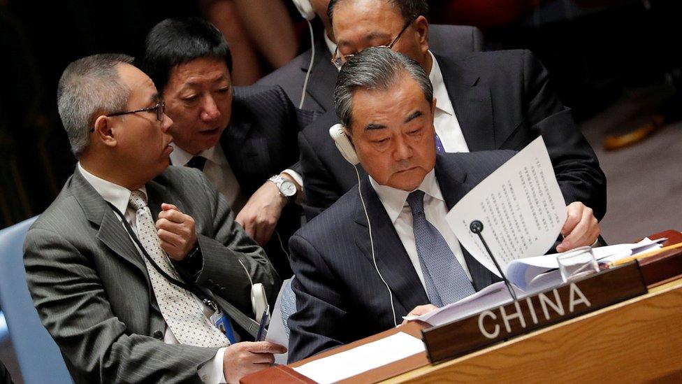 """中國外長王毅短暫回應記者提問時,形容特朗普的說法是""""胡說八道""""。"""