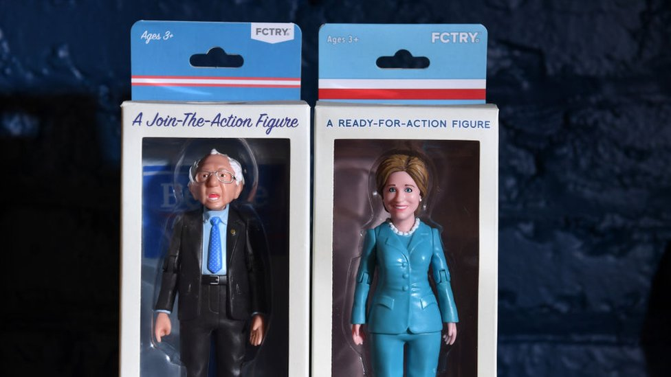 Dolls depict the 2016 Democrat candidates