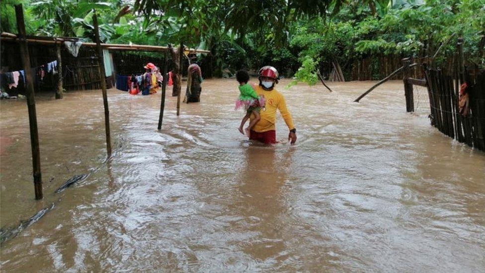 Comunidad inundada en Honduras.