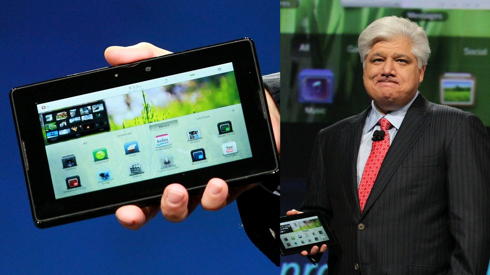 Mike Lazaridis with Blackberry Playbook