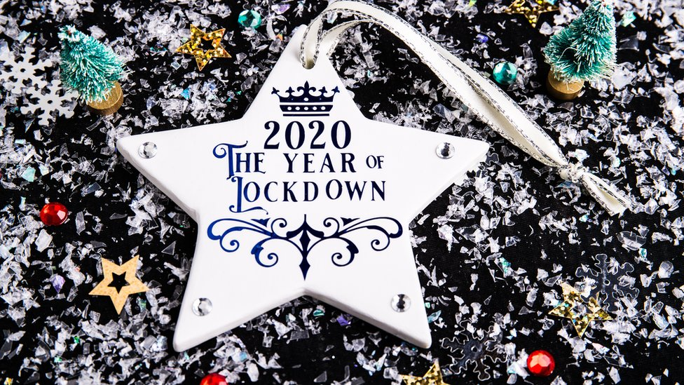 "A Christmas decoration saying ""2020 The Year of Lockdown"""