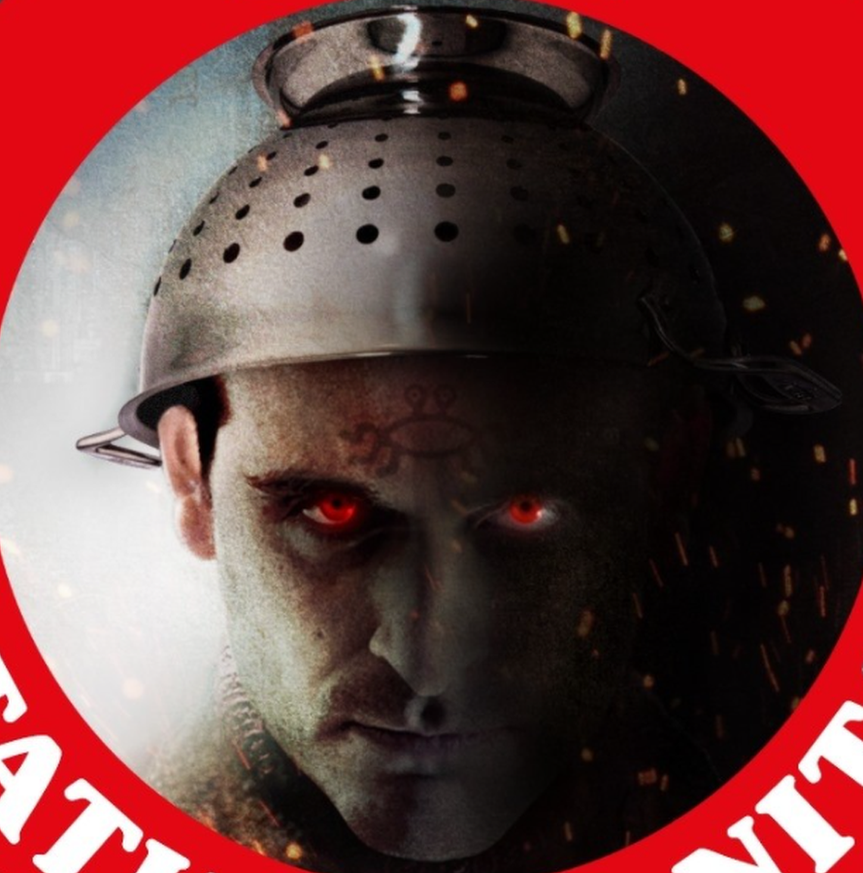 Gilles' Facebook profile picture shows him wearing a metal colander as a hat.