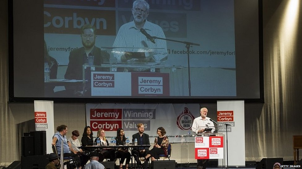 Jeremy Corbyn addresses supporters