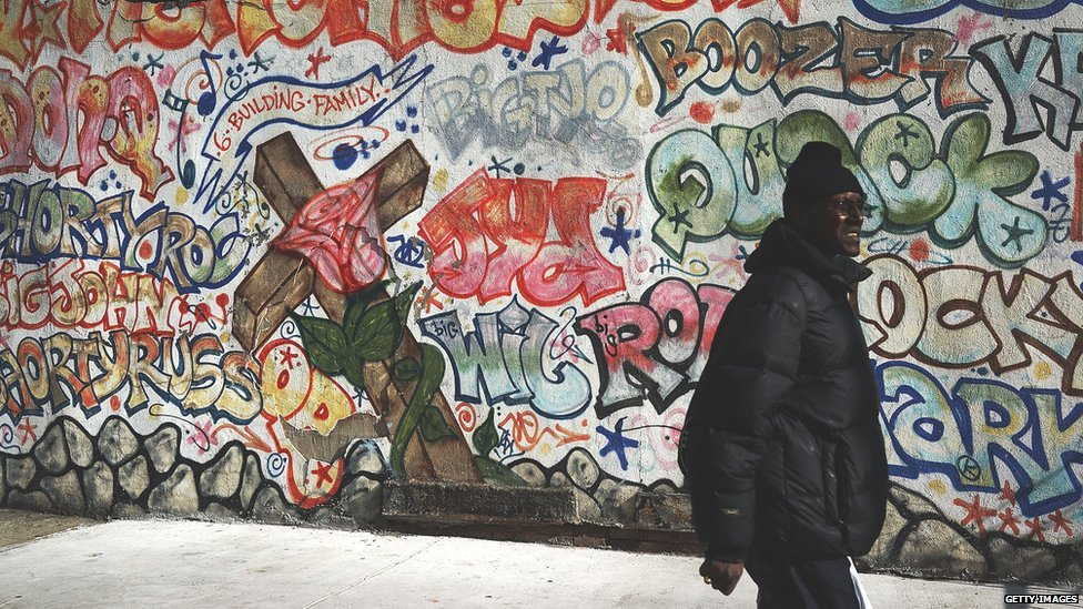 A graffiti memorial adorns a wall in memory of a man in the Bedford-Stuyvesant neighborhood on January 17, 2013 in the Brooklyn borough of New York City