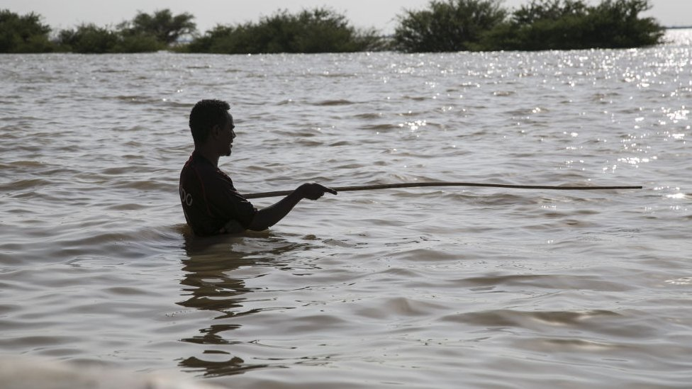 Flood-affected Sudanese people face challenging circumstances in Al Lamab of Khartoum, Sudan on September 8, 2020.