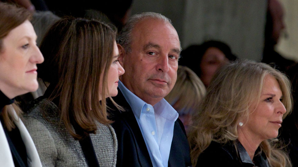 Philip Green with wife Tina, right, at London Fashion Week in 2013