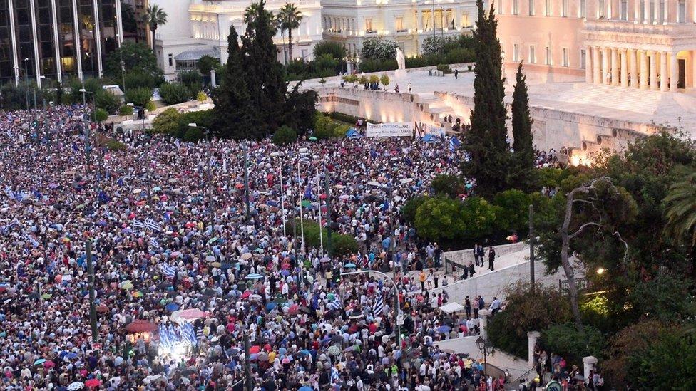 La crisis económica en Grecia desató gigantescas protestas.