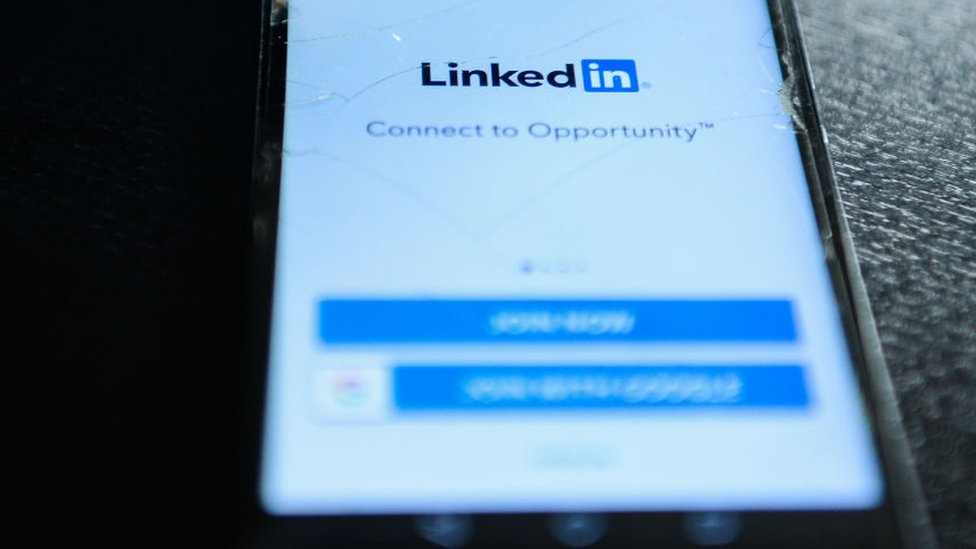 LinkedIn logo on mobile phone
