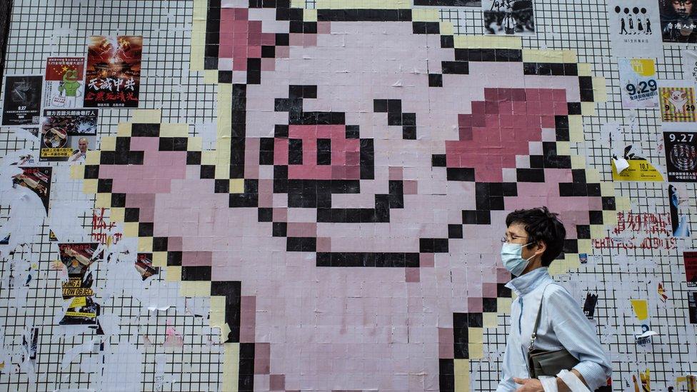"""代表連登的卡通""""連登豬""""經常出現在香港各區的連儂牆。"""