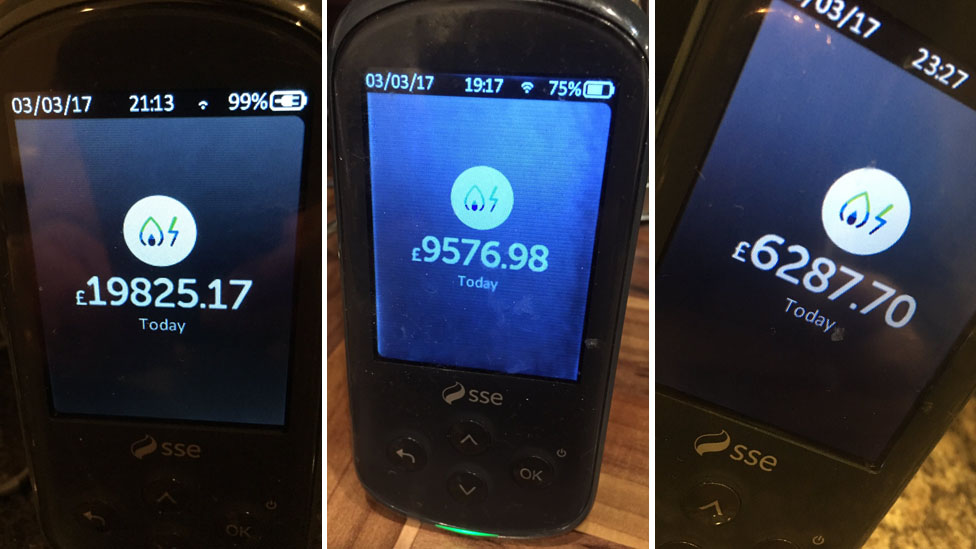 Three images of smart meter readings